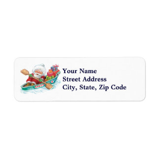 Cute Cartoon Jolly Santa Claus in a Row Boat Return Address Label