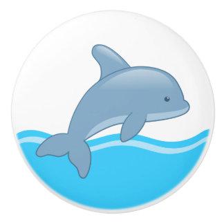 Cute Cartoon Jumping Dolphin Ceramic Knob