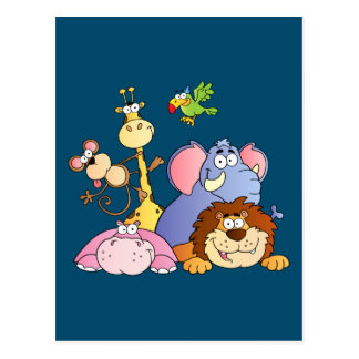 Cute Cartoon Jungle Animals Postcard