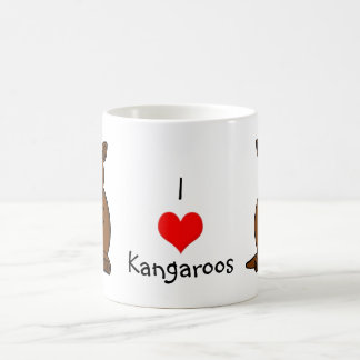 Cute Cartoon Kangaroo and Baby Joey Basic White Mug