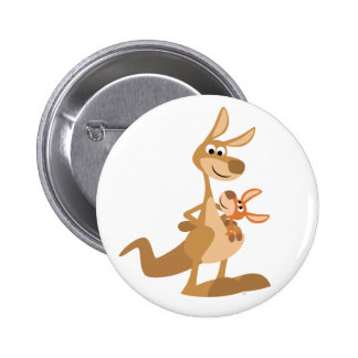 Cute Cartoon Kangaroo Mum and Joey Button Badge