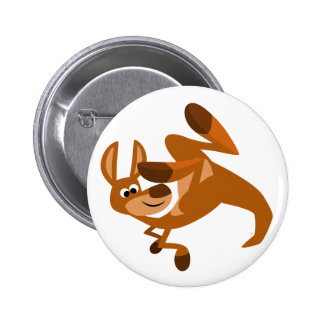 Cute Cartoon Kangaroo s Somersault Button Badge