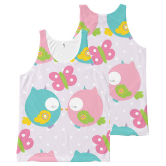 Cute Cartoon Kissing Owls All-Over Print Singlet