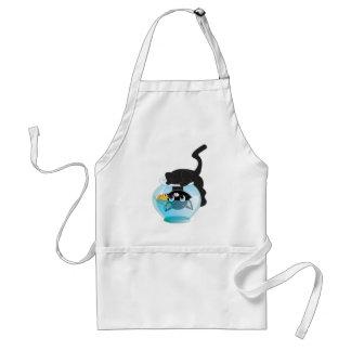 Cute Cartoon Kitten, Fish and bowl Standard Apron