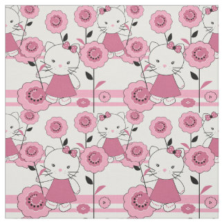 Cute cartoon kitten kids fabric