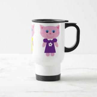 Cute Cartoon Kittens In Colorful Dresses Custom Stainless Steel Travel Mug