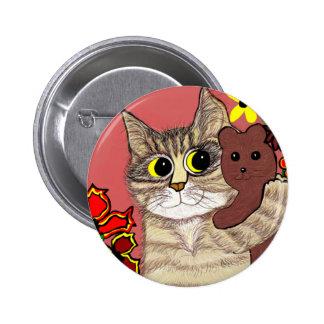 cute cartoon kitty holding sweet teddybear pins