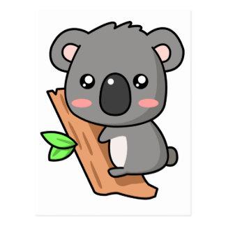 Cute Cartoon Koala Bear on Eucalyptus Tree Postcard