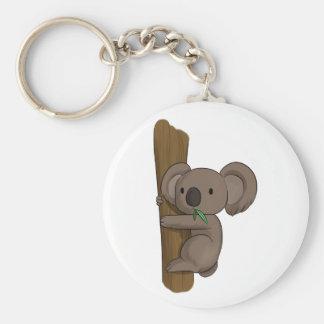 Cute Cartoon Koala Bear on Tree Eating Eucalyptus Key Ring