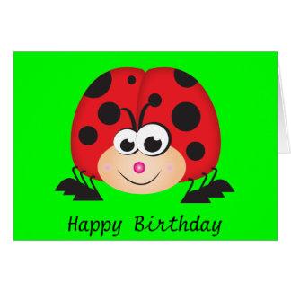 Cute Cartoon Ladybug Greeting Card