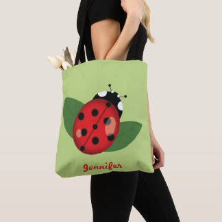 Cute Cartoon Ladybug With Personalizable Name Tote Bag