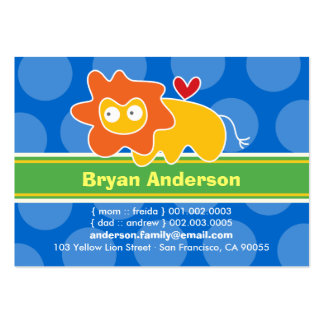 Cute Cartoon Lion Kid Photo Profile Calling Card Business Cards
