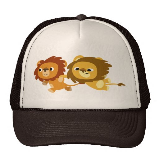 Cute Cartoon Lions in a Hurry Hat