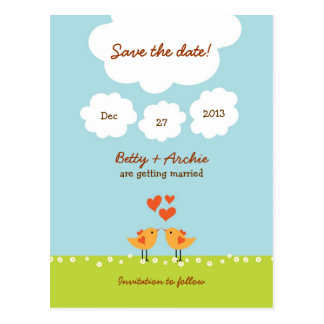 Cute Cartoon Love Birds (Day) Wedding Postcard