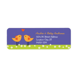 Cute Cartoon Love Birds (Night) Wedding Return Address Label