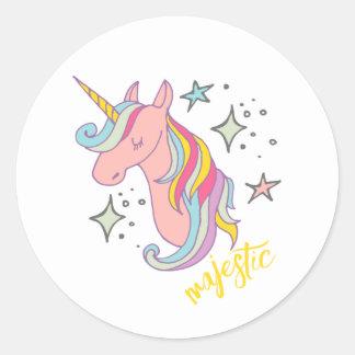Cute Cartoon Majestic Unicorn Classic Round Sticker