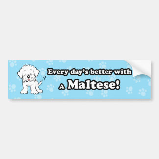 Cute Cartoon Maltese Bumper Sticker