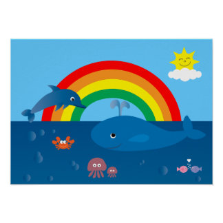 Cute Cartoon Marine Life & Rainbow Custom Poster
