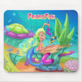 Cute cartoon mermaid mouse pad