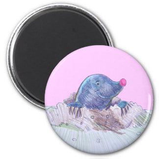 Cute Cartoon Mole and Molehill 6 Cm Round Magnet
