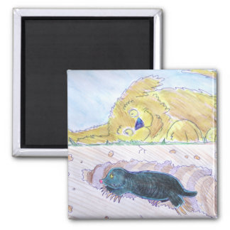 cute cartoon mole digging tunnel while dog listens square magnet
