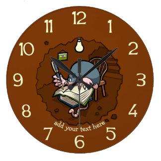Cute Cartoon Mole Novelist Writing Book In Burrow Large Clock
