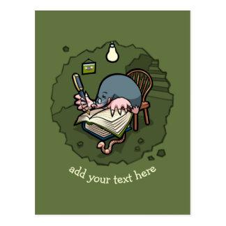 Cute Cartoon Mole Novelist Writing Book In Burrow Postcard