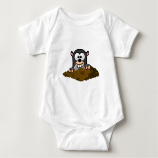 Cute Cartoon Mole Popping Up Out of the Ground Baby Bodysuit