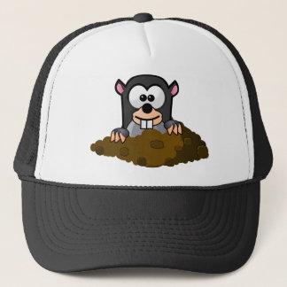Cute Cartoon Mole Popping Up Out of the Ground Trucker Hat