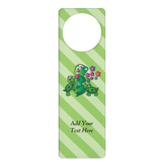Cute Cartoon Momma Turtle and her Babies Door Hanger