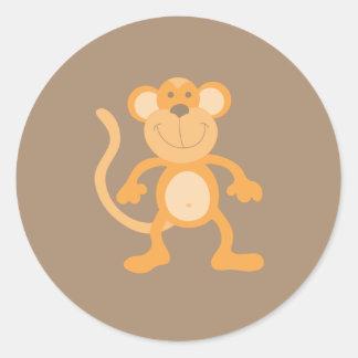 Cute Cartoon Monkey Classic Round Sticker