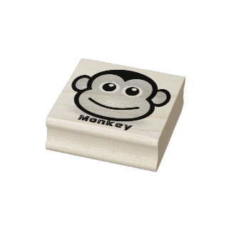 Cute Cartoon Monkey Face Rubber Stamp