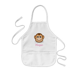 Cute cartoon monkey personalized with childs name kids apron