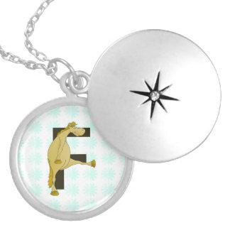 Cute Cartoon Monogram Pony F Round Locket Necklace