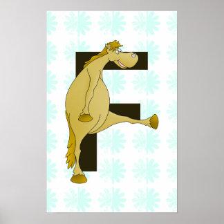 Cute Cartoon Monogram Pony F Poster