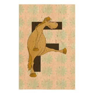 Cute Cartoon Monogram Pony F Cork Paper Prints