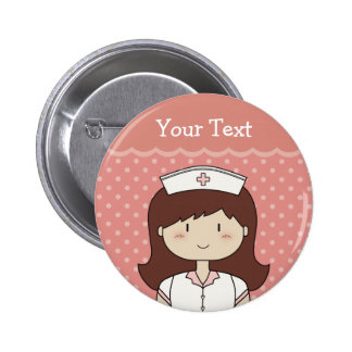 Cute cartoon nurse (brunette) 6 cm round badge