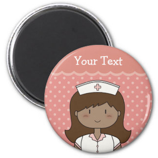 Cute cartoon nurse (brunette) magnet