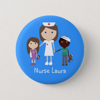 Cute Cartoon Nurse & Children Personalized 6 Cm Round Badge