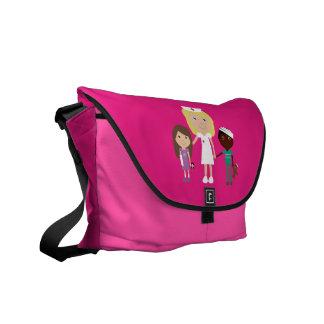 Cute Cartoon Nurse & Children Pink Messenger Bag