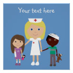 Cute Cartoon Nurse & Children Poster