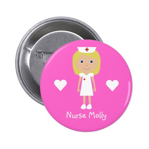 Cute Cartoon Nurse & Hearts Personalized Pink Buttons