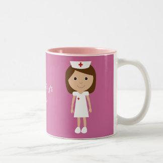 Cute Cartoon Nurse Personalized Pink Two-Tone Coffee Mug