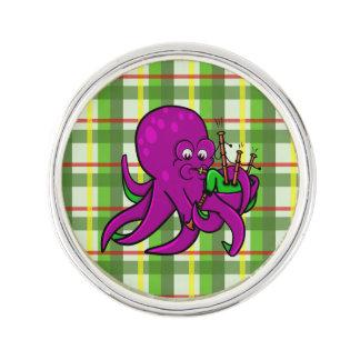 Cute Cartoon Octopus Playing Bagpipes Lapel Pin