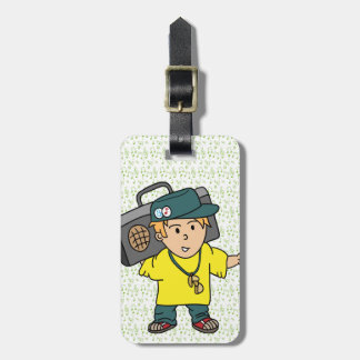 Cute Cartoon of Boy who loves music Luggage Tag