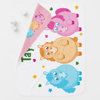 Cute cartoon of little colorful ponies, baby blanket