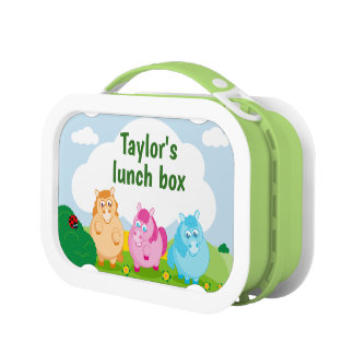 Cute cartoon of little colorful ponies, lunch box