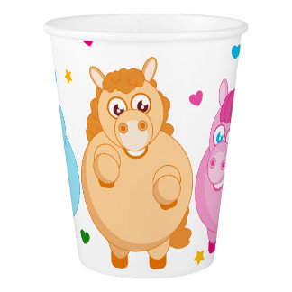 Cute cartoon of little colorful ponies, paper cup