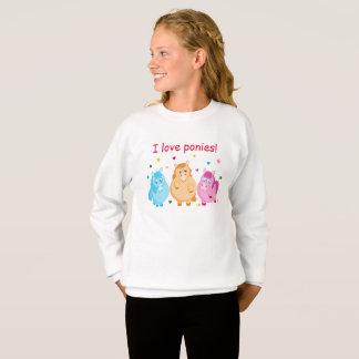Cute cartoon of little colorful ponies, sweatshirt