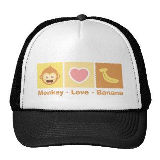 Cute Cartoon of Monkey - Love - Banana Cap
